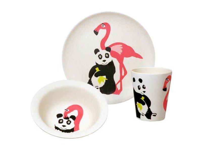 zuperzozial Kindergeschirr-Set Hungry Flamingo - Bambus