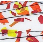 Bullseye - bruin/gele/oranje confettis en zwarte stringers op wit opaque - 20x17 cm