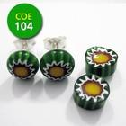 Groen/wit bloempje/oranje punt 8-10mm