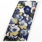 Lint - Ecru blauw bruin groen bloem - Biais - 10mm