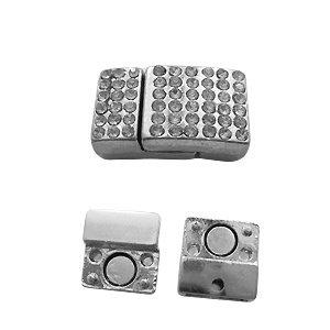 Magneetslot - Zilverkleur met strass - 20x13mm/gat 10mm
