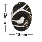 Kleefcabochon - Ovaal - Vogel in boom - 18x25mm