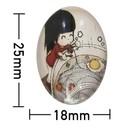 Kleefcabochon - Ovaal - Etend meisje - 18x25mm