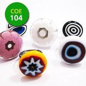 Millefiori groot transparant mix - 15-20 mm - 100 gram - COE 104