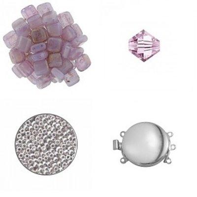 Quadrado armband - Pink Topaz Luster/Roze/Zilver