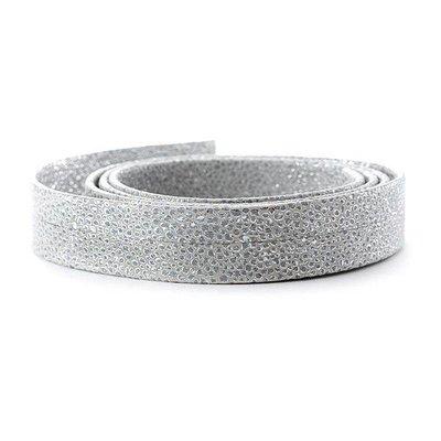 Leder Primula/metaal - 20x2mm - Zilver Wit