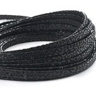 Leder Panter/metaal - 5x2mm - Zwart