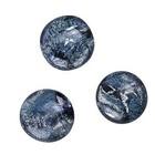 Dichroic cabochon - grijs/zilver/blauw - 9mm