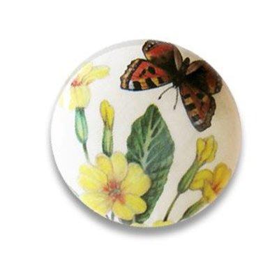 Pastille bloemen - Beige/lgroen/.. - Papier/resin - 36mm
