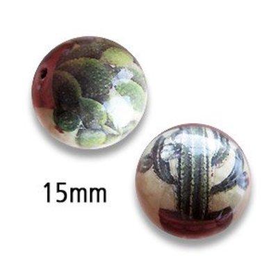 Bol cactus - Beige/groen - Papier/resin - 15mm