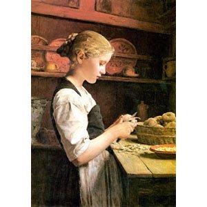 Albert Anker- kartoffelschälendes Mädchen