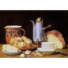 Albert Anker -Stilleben mit Kaffee, Brot und Kartoffeln