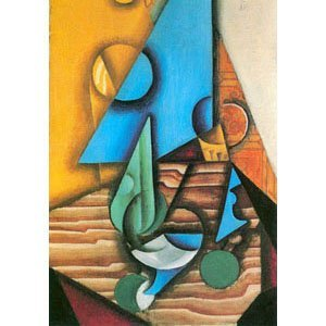 Juan Gris - bottle and glass on table