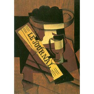 Juan Gris - fruit bowl, glass an newspaper