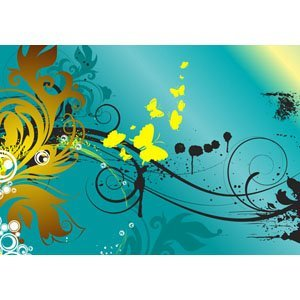 Floral in Blau-Gelb