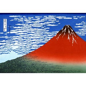 Holusai, Katsushika - Red Fuji southern wind clear morning