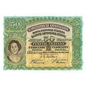 Geldnoten-alte Fünfzig Franken Note
