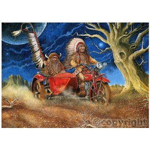 2 Indianer auf Motorrad