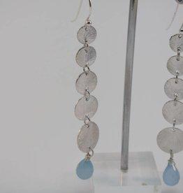 Earring silver with calceadone