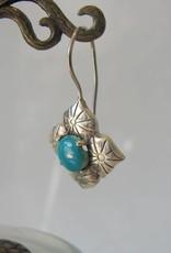 Oorbel zilver turquoise