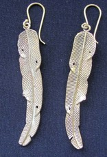 Earring brass Feather