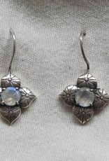 Earring silver rainbow moonstone