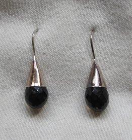 Earring silver smokey quarts