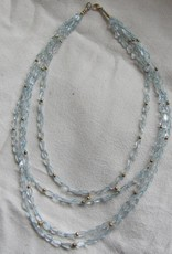 Necklace aquamarine gold on silver