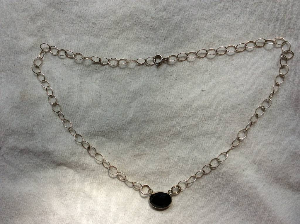 Necklace silver onyx