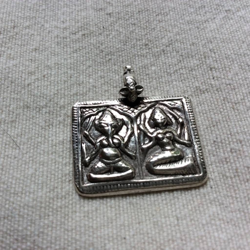 Pendant silver Ganesh Laxmi