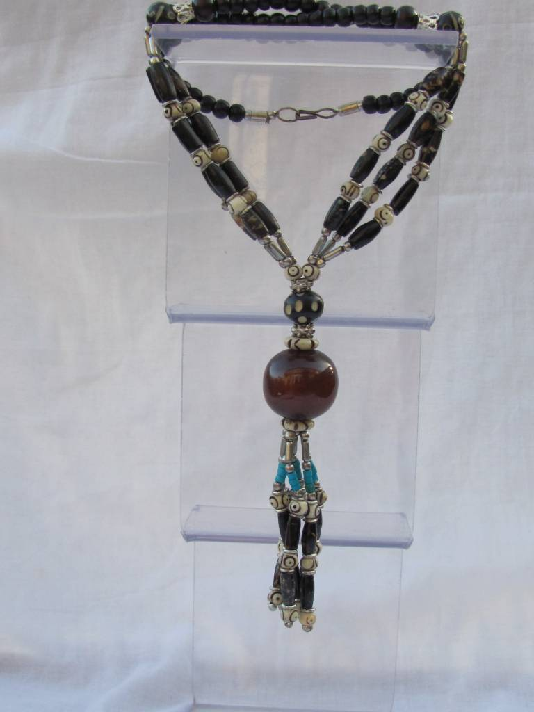 Necklace from horn camel bone and resin