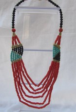 Necklace with hand made coral coloured beads