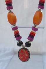 Necklace with a pendant, colourful hand made beads