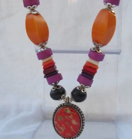 Necklace with a pendant, colourful
