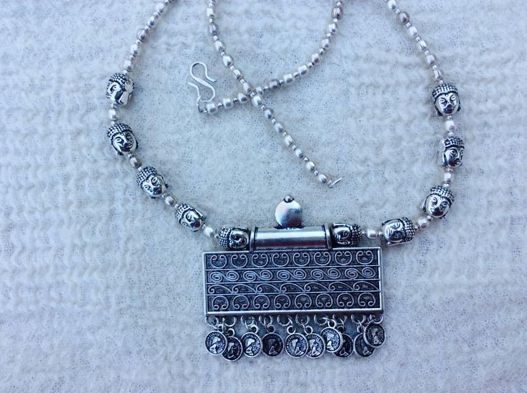 Hippy necklace amulet Buddha beads