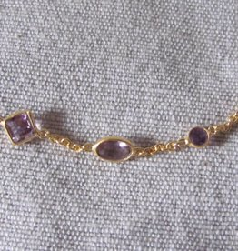 Necklace gold on silver amethyst