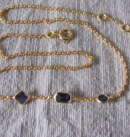 Necklace gold on silver with iolite
