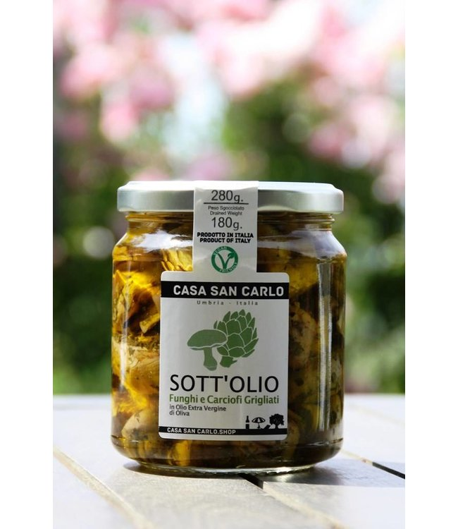 Casa San Carlo Gegrilde paddenstoelen & artisjokken in extra vergine olijfolie - 280 gr