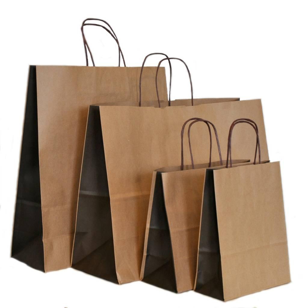 Papieren tassen in kraft in de kleur bruin rotim for Papieren zakken bedrukken