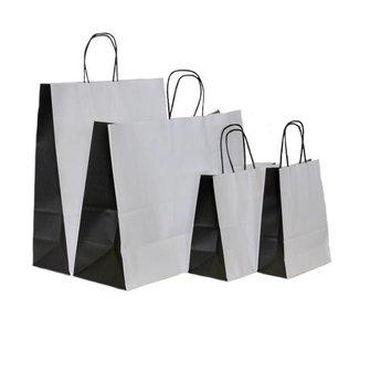 50x Papieren draagtassen witte kraft met bio color zwart