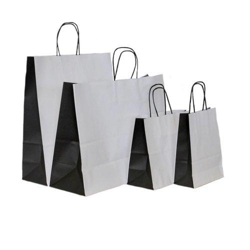 50 x Papieren tassen witte kraft met bio color zwart