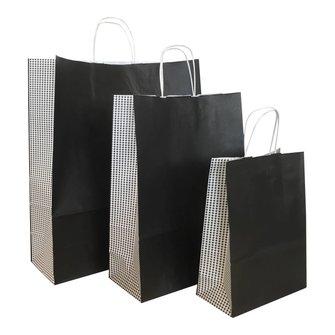 50 x papieren tassen Pied de Poule wit gedraaid handvat