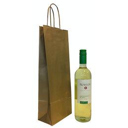 50x Wijnfles tas goud 14x8x39cm