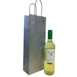 Wijnfles tas zilver 14x8x39cm