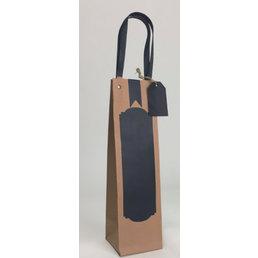 12x Schrijfbare eco papieren wijnfles tassen 09x09x32,5cm