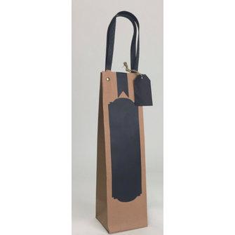 12x Beschrijfbare eco papieren wijnfles tassen 09x09x32,5cm