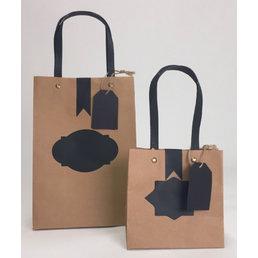 12x Schrijfbare eco papieren tassen 17,5x10x26cm