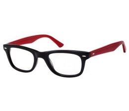 wayfarer leesbril in zwart met rode veren
