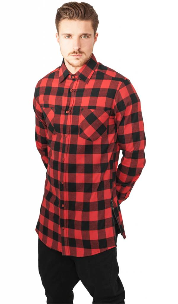 SIDE-ZIP LONG FLANNEL SHIRT BLACK/RED (MEN) - SUGAR&spikes