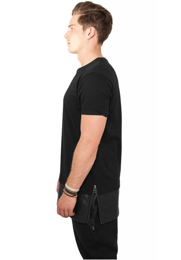 CUSTOM TEAM NUMBER LEATHER BOTTOM LONG TEE ALL BLACK EDITION (MEN)